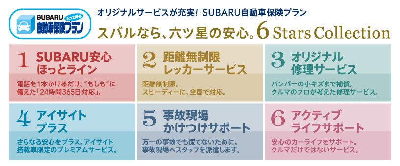 オリジナルサービスが充実! SUBARU自動車保険プラン
